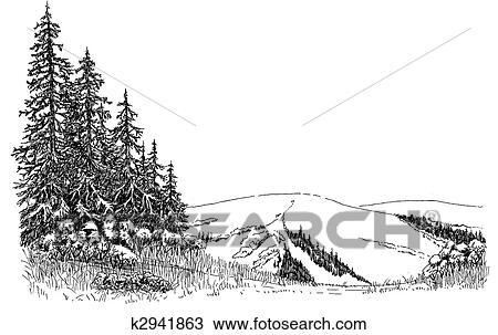 Disegno Abete Rosso Su Uno Collina K2941863 Cerca Clipart