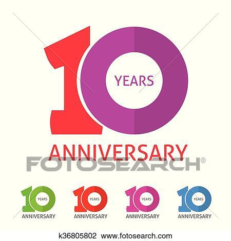 clipart of anniversary 10th logo template with shadow on circle rh fotosearch com 50th Anniversary Logos Clip Art Baseball Logos Clip Art