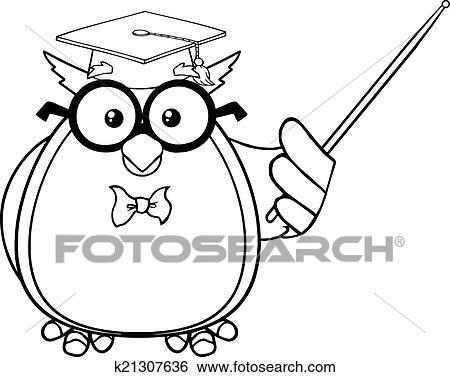Black And White Wise Owl Teacher Cartoon Mascot Character With A Pointer K21307636 Foto Search Stock Photo Photograph Royalty Free
