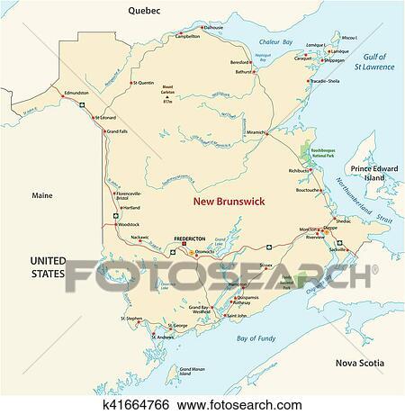 Carte Canada Nouveau Brunswick.Carte Route De Les Canada Province Atlantique Nouveau Brunswick Clipart