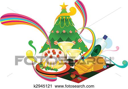 Christmas Day Clipart.Cartoon Christmas Dinner Clipart