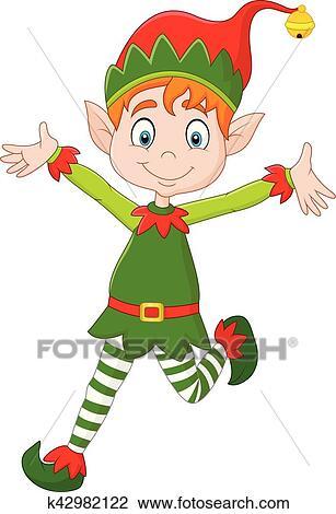 clipart of cartoon happy christmas elf k42982122 search clip art