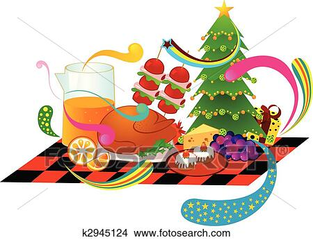 Clipart Of Christmas Dinner K2945124 Search Clip Art Illustration