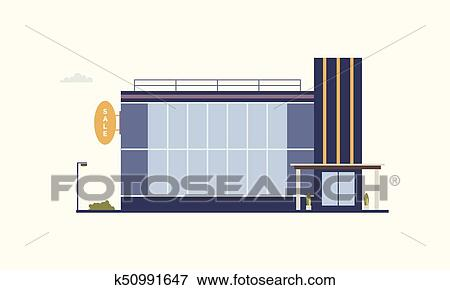 Clip Art Of City Building Of Trade Center Or Shopping Mall With Large  Panoramic Windows And Glass Entrance Door Built In Modern Architectural  Style.