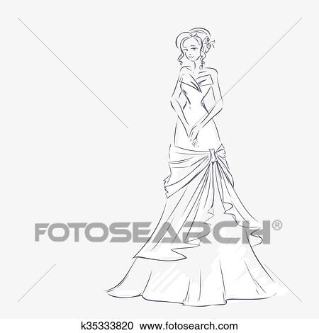 Clipart of Elegant bride at wedding dress k35333820 - Search Clip ...