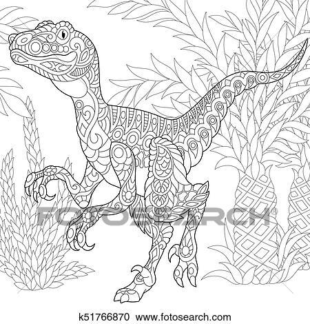 Estinto Species Velociraptor Dinosaur Clipart K51766870