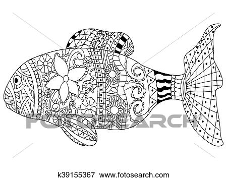 Clip Art Fische Ausmalbilder Vektor Für Erwachsene K39155367