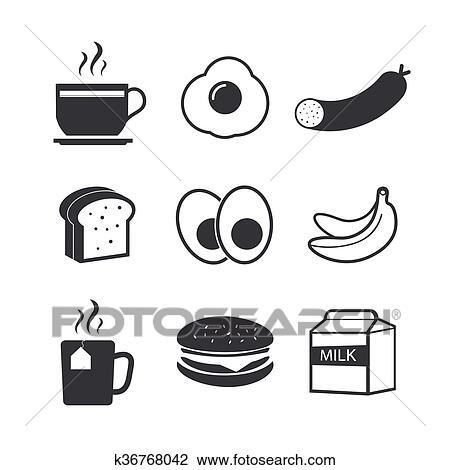 Clipart - fruehstueck, frisches essen, und, getränke, schwarz ...