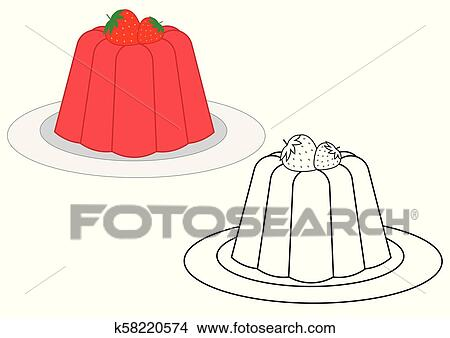 - Jelly With Strawberries, Coloring Book. Vector Illustration Clipart  K58220574 Fotosearch