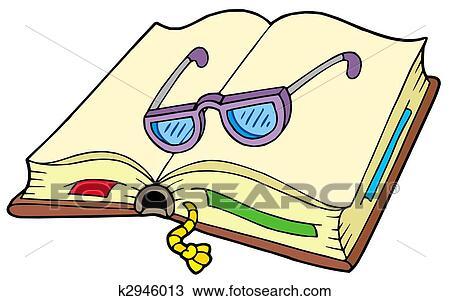 dibujo libro abierto con anteojos