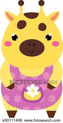 Clipart Mignon Girafe Dans Rose Dress Dessin Anime Kawaii