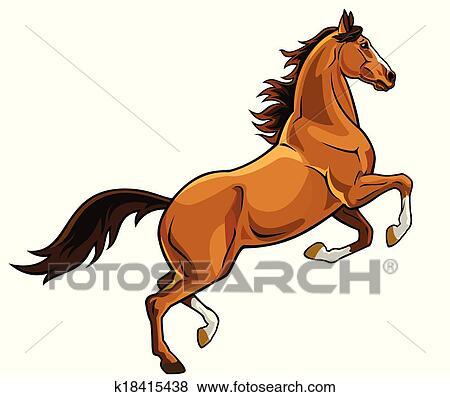 Rearing Brown Horse Clip Art K18415438 Fotosearch