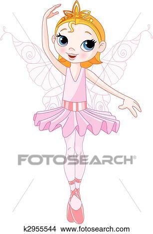 かわいい 妖精 バレリーナ クリップアート切り張りイラスト絵画