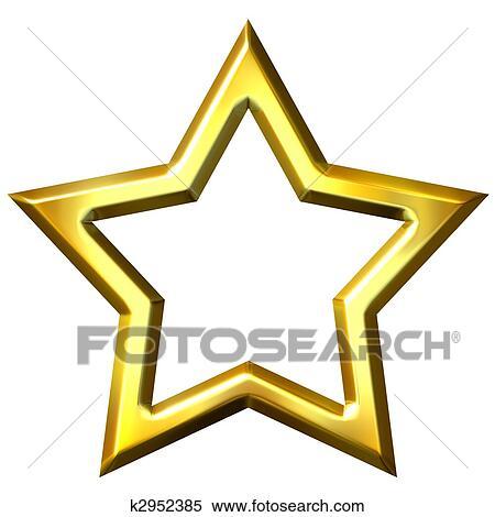 Stock Illustration of 3D Golden Star Frame k2952385 - Search Clipart ...