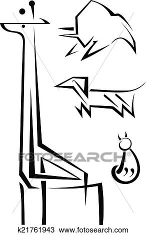 clipart of abstract stylized silhouettes of animals giraffe cat I Do Wedding Clip Art Clip clipart abstract stylized silhouettes of animals giraffe cat bull do fotosearch