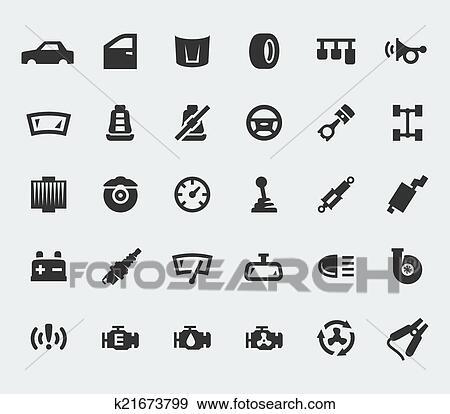Clip Art of Car parts large icons set k21673799 - Search Clipart ...