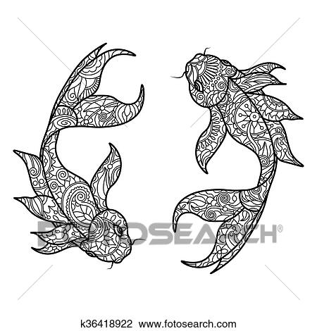 Clipart - carpa de koi, pez, libro colorear, para, adultos, vector ...
