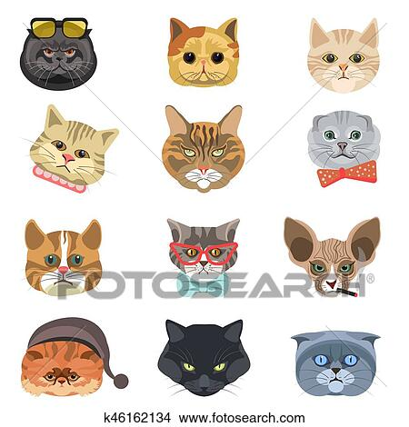 Cartoon Cats And Hipster Kittens Face Muzzles Vector Icons Clipart