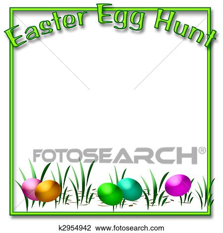 Easter egg hunt Drawing | k2954942 | Fotosearch