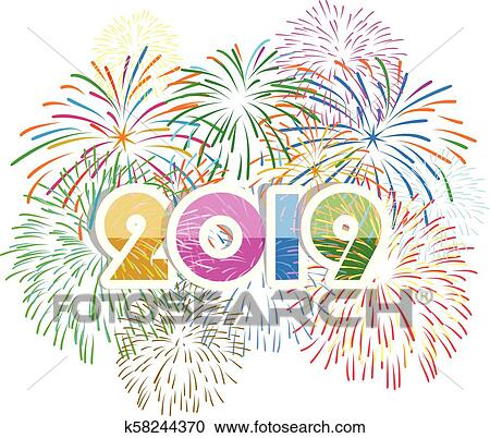 clipart firework displayed for happy new year 2019 and holidays concept fotosearch search
