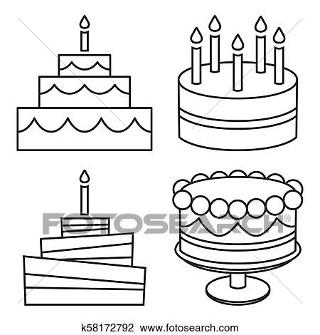 Astounding Line Art Black And White Birthday Cake Set Clipart K58172792 Funny Birthday Cards Online Alyptdamsfinfo