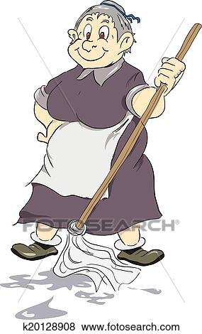clip art of merry old cleaning lady k20128908 search clipart rh fotosearch com cleaning lady clip art images Professional Cleaning Lady Clip Art