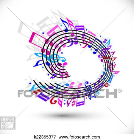 Clip Art Of Pink And Violet Music Background With Clef And Notes