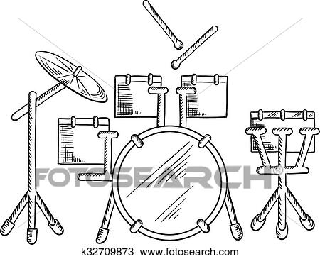 Clipart Of Sketch Of Drum Set With Traditional Kit K32709873
