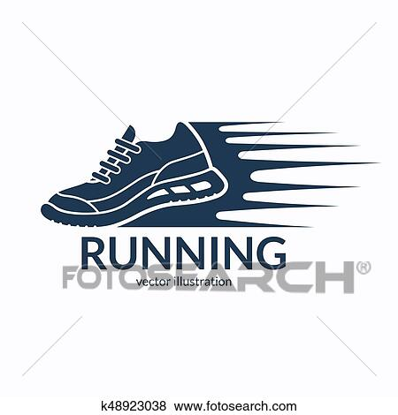 Clip Art of Speeding running shoe icon ccf733cab