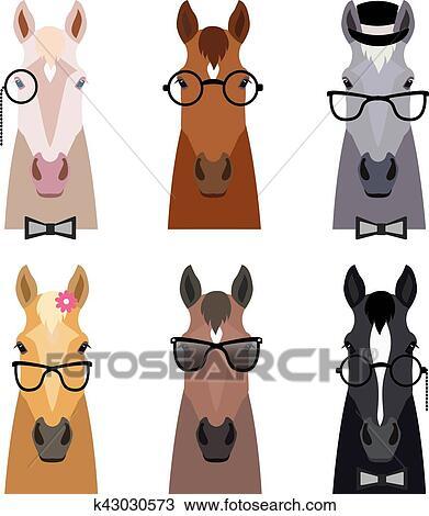 Vettore hipster cavallo testa in occhiali appartamento