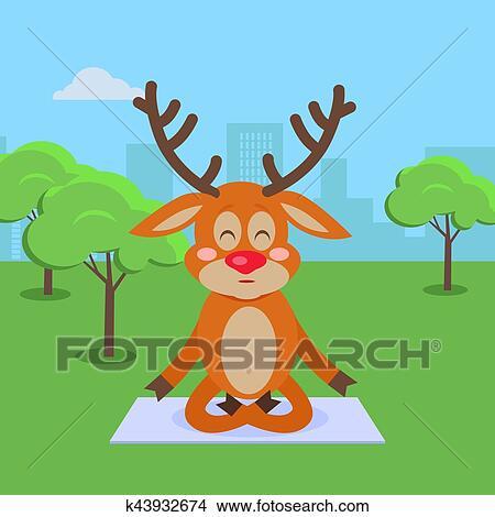 Clipart - yoga, exercices, dans, parc ville, dessin animé, concept ...