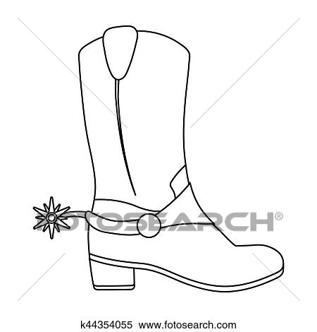 Cowboy\u0027s boots icon in outline style isolated on white