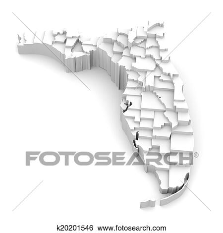 Florida Map With Counties.Stock Illustration Of Florida Map By Counties Logo K20201546