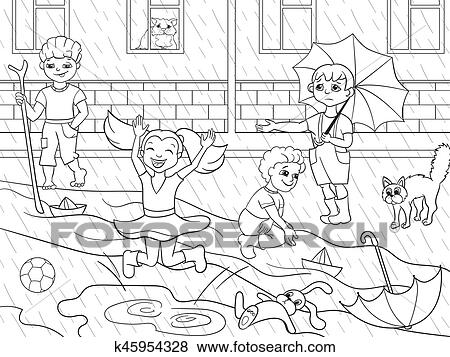 Kids Coloring Vector Children Playing In Rainy Weather Clip Art