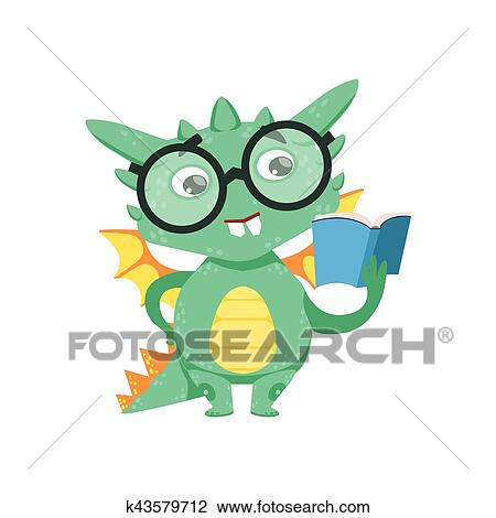 Clipart Of Little Anime Style Smart Bookworm Baby Dragon Reading A