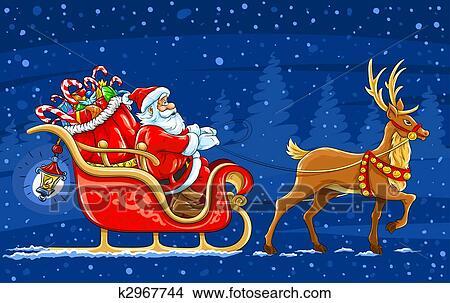Babbo Natale Con Le Renne Immagini.Natale Babbo Natale Trasloco Il Slitta Con Renna E Regali Vettore Illustrazione Archivio Illustrazioni