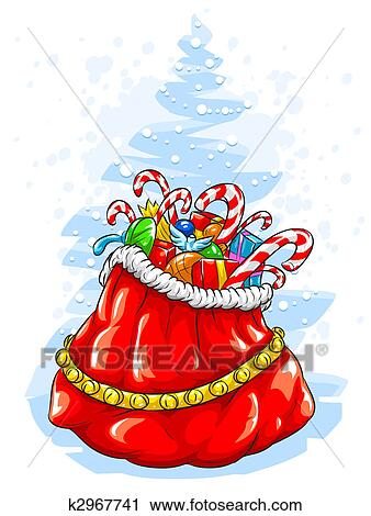 Weihnachtsgeschenke Sack.Rot Weihnachtsmänner Claus Sack Mit Weihnachtsgeschenke Clip Art