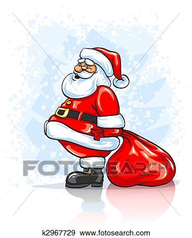 Weihnachtsgeschenke Sack.Weihnachtsmann Mit Groß Rot Sack Von Weihnachtsgeschenke Stock Illustration