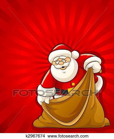 Weihnachtsgeschenke Sack.Weihnachtsmann Mit Leerer Sack Für Weihnachtsgeschenke Stock Illustration