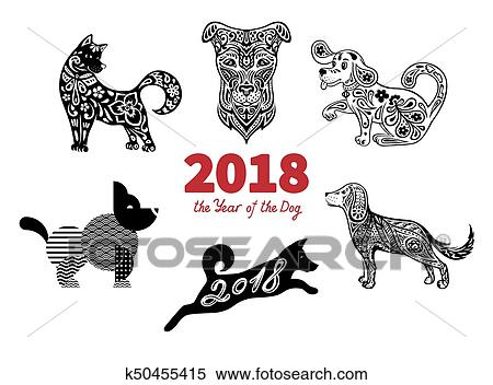 Symbol Of The 2018 Chinese New Year Different Styles Design For Greeting Cards Calendars Banners Posters Invitations