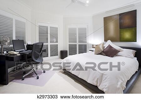 Stock Foto - bureau, en, sparen, slaapkamer, in, luxe, herenhuis ...