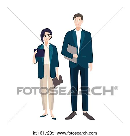 Clipart Of Couple Of People Dressed In Business Clothes Or Smart