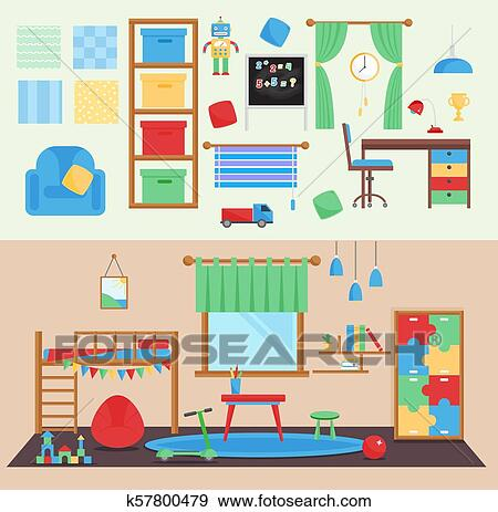 Horizontal view cozy baby room decor vector children bedroom ...