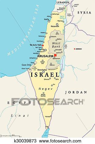 Israel Politisch Landkarte Clipart K30039873 Fotosearch