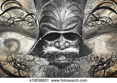 Banques De Photographies Japonaise Guerrier Masque Tatouage