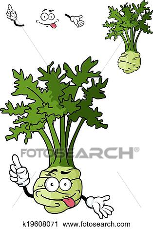 Clipart of Funny cartoon celery vegetable k19608071 - Search Clip ...