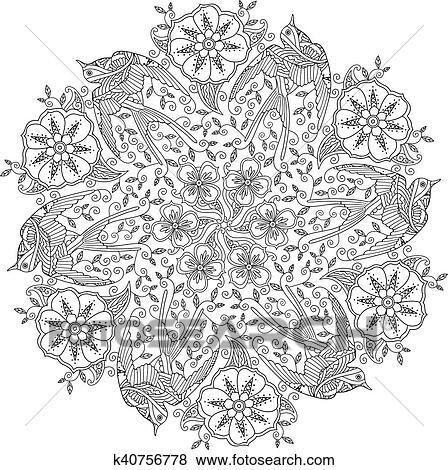 Mandala Mit Drei Aufwendig Schön Fliegen Vögel Und Blumen Hintergrund Clip Art