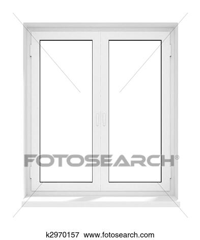 New Closed Plastic Glass Window Frame Isolated Stock Illustration