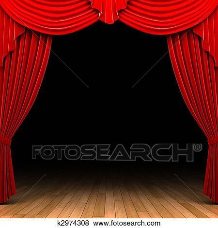 Stock Illustration Rot Samt Vorhang öffnung Szene K2974308