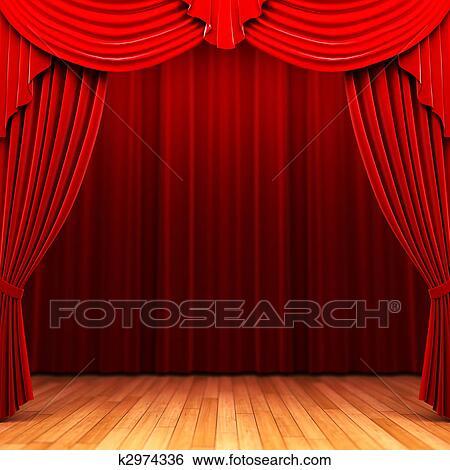 Banque d\'Illustrations - rouges, rideau velours, ouverture, scène ...